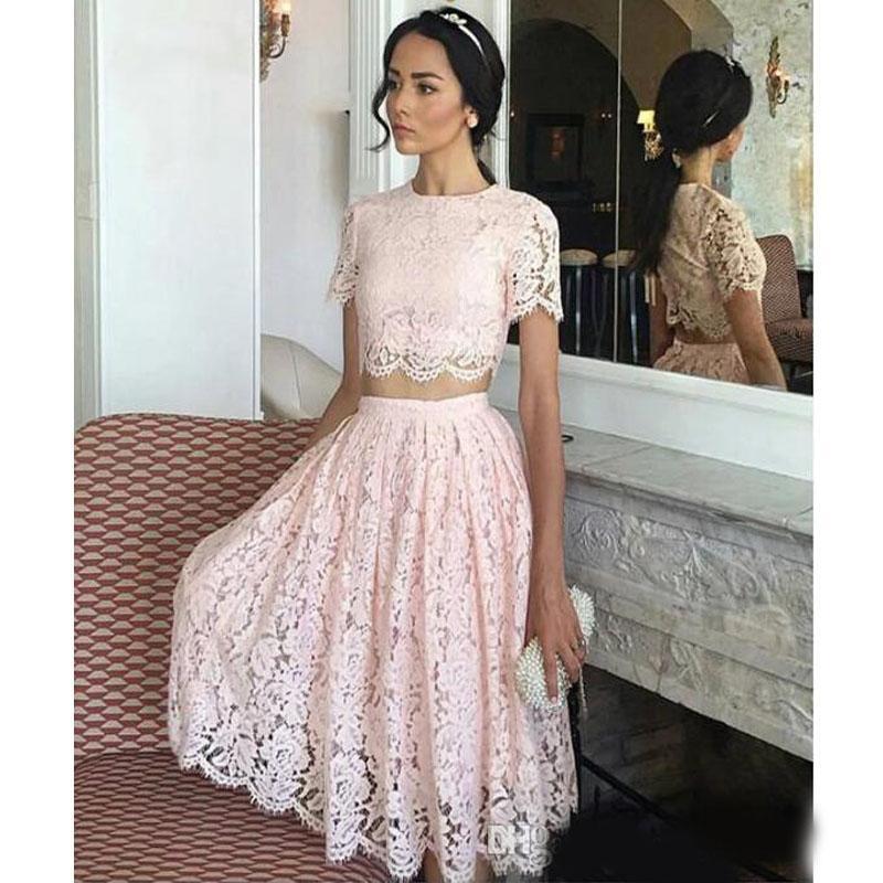 Pas cher rose courte ligne Retrouvailles robes arabe Deux pièces de dentelle taille des robes de cocktail formelle Party Robes de soirée pas cher