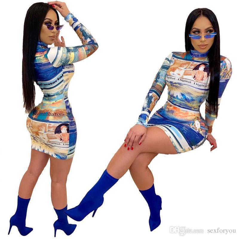 Femme Automne Hiver manches à col roulé pleine Robe imprimée Mode Robe Slim Sexy Night Club Party Bandage Robe moulante