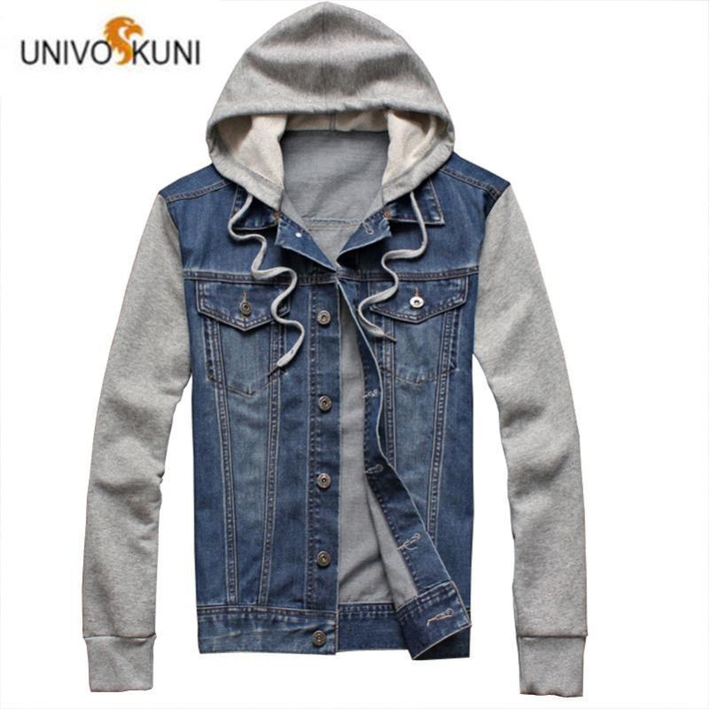 UNIVOS KUNI 2019 Men's Casual Jacket Hoode Denim Coat Fashion Chet Pocket Outwear Slim Fit Male Boys Big Size 5XL J621