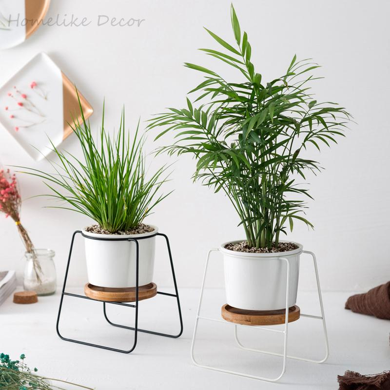 2020 Minimalist Ceramic Flower Pots White Black Succulent Plant Pots With Bamboo Stand Iron Metal Shelf Home Decor Fairy Garden Cj191226 From Quan09 19 24 Dhgate Com