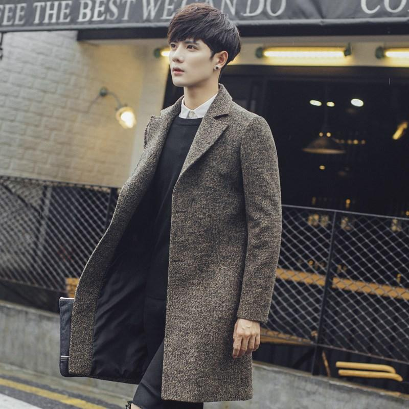 Otoño e invierno con algodón en la parte larga de los hombres de la chaqueta de la capa de lana de los hombres