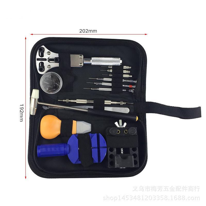 13pcs / set Uhr-Reparatur-Werkzeug-Kit-Uhr-Taktgeber-Öffner-Verbindungs-Remover-Frühlings-Stab-Werkzeug-Set mit schwarzem Wasser-beständige Aufbewahrungstasche New