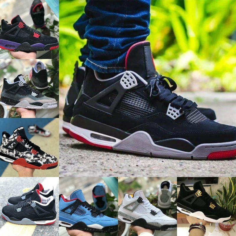 2020 Yayın Bred 4s Erkekler Tasarımcı Basketbol Ayakkabıları 4 Saf Para Aydınlatma Royalty NRD Raptor Gri Siyah Beyaz Çimento Eğitmen Spor Ayakkabıları