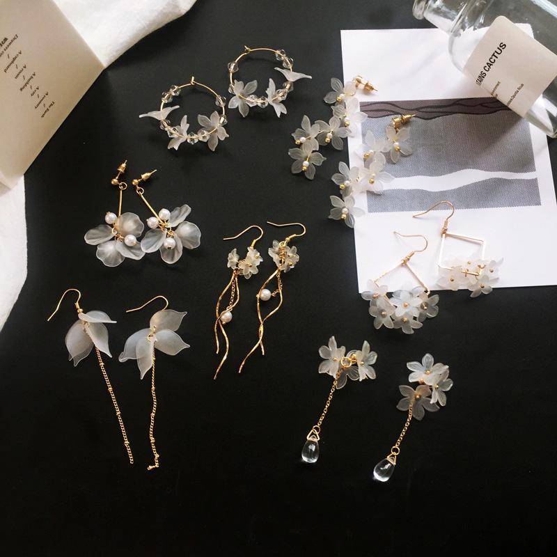 2020 Nuevo flores hechas a mano de Bohemia Boho pendientes de la moda pendientes largos que cuelgan aretes femenina joyería del partido de boda cristalinos mujeres