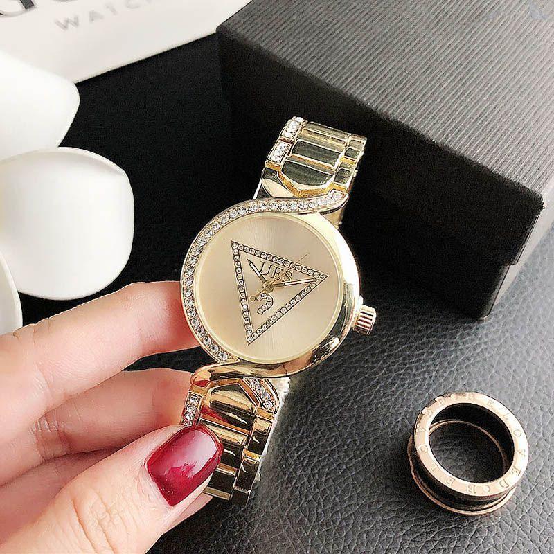 패션 브랜드 손목 여성 소녀 크리스탈 스타일 철강 금속 밴드는 GS25를 볼 석영 시계