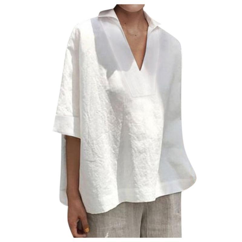 Women V Neck Cotton Shirts Blouse Vintage Casual Short Sleeve Loose Tops Shirt Women Solid Plus Size Clothes Female Blusas #BL3