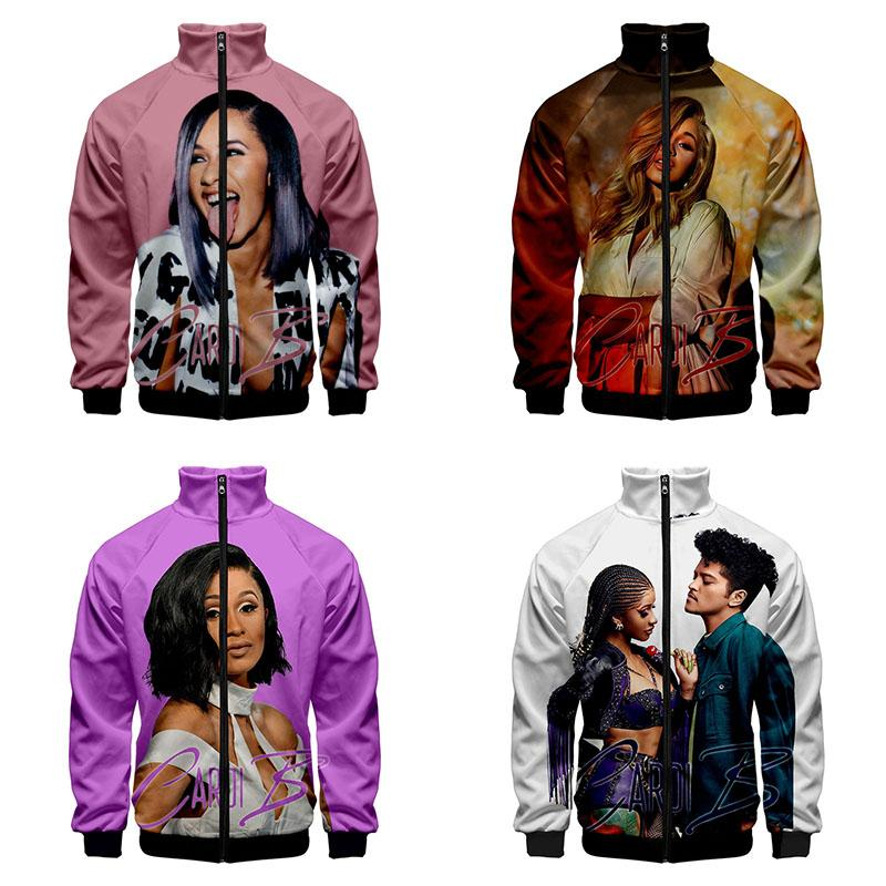 3d Stand Collar Hoodie Funny Cute Cardi B Print Fashion Men Women Zipper Hoodies Jackets Long Sleeve Zip Up 3D Sweatshirts Tops