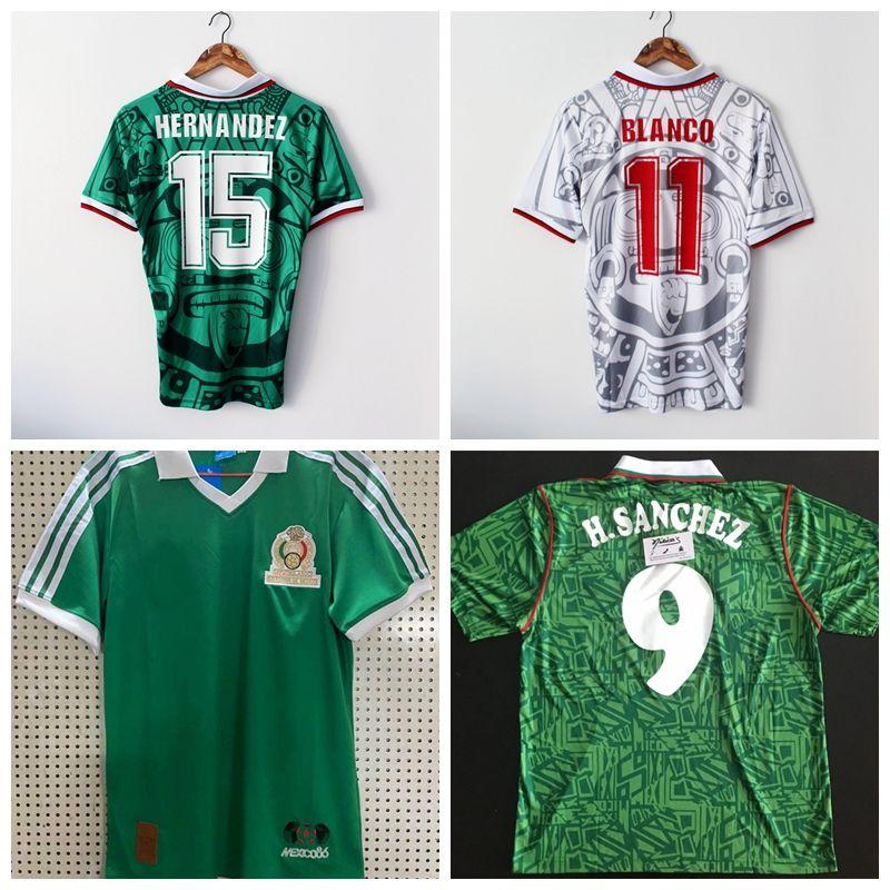 레트로 클래식 1986 1994 1998 월드컵 멕시코 축구 유니폼 리온의 내전 H.SANCHEZ 헤르 난 데스 BLANCO 축구 스포츠 셔츠는 S-2XL를