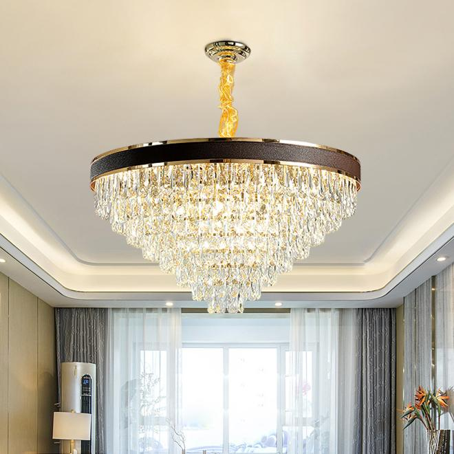 New design contemporary creative D 80cm X H 45cm crystal chandelier with black leather led pendant lamps for living room bedroom dining room