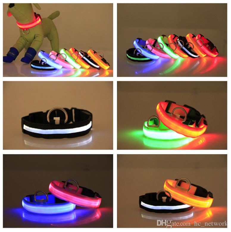Nylon LED Pet Dog Collar Night Safety Flashing Glow In The Dark Dog Leash,Dogs Luminous Fluorescent Collars Pet Supplies USB Rechargeable