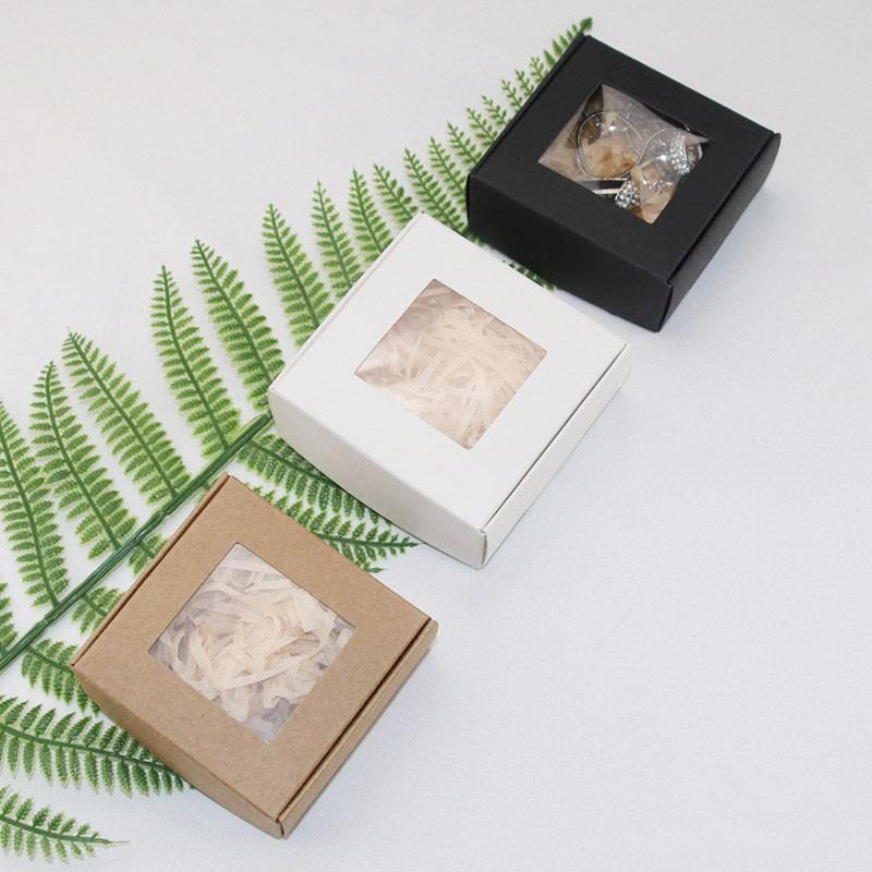 Pliable Kraft papier emballage Boîte Crafts Arts Boîtes de rangement pour le bricolage savon Emballage cadeau avec fenêtre transparente WB2218