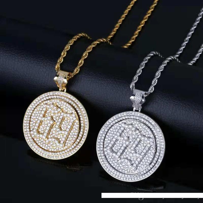 White Gold nuovo Hotsale Fantastico Uomo di Hip Hop della collana di giallo pieno CZ Rotating Nember 69 Collana Uomo Nizza regalo Donne
