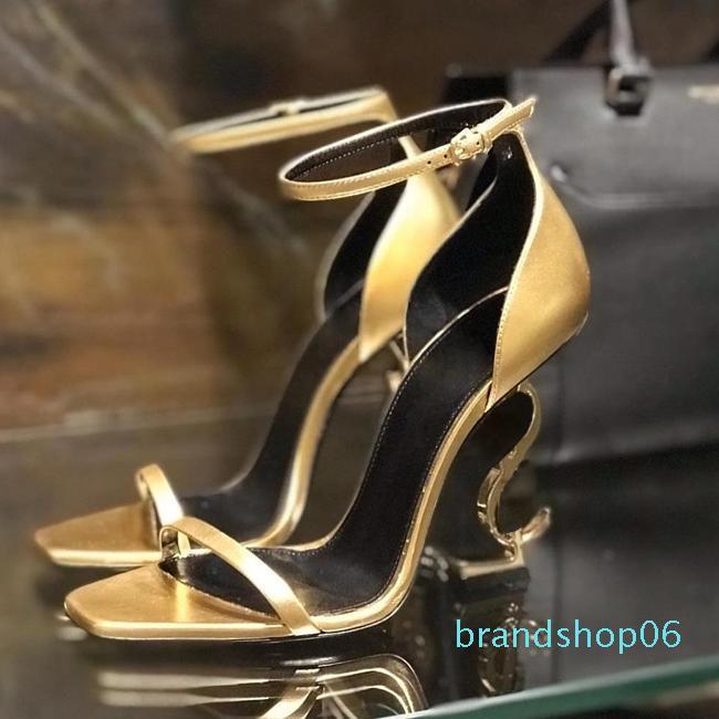 Charol Negro-Venta caliente 10.5CM Letters talones de diseño zapatos de boda de las mujeres únicas cartas sandalias de vestir sandalias atractivas 35-41 Box