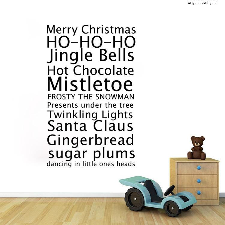 Xmas Aw9445 Stickers Merry Christmas Vinyl Vinyl Wall Jingle Bells Quote Removeable Decal For Baby Kids Shop Window