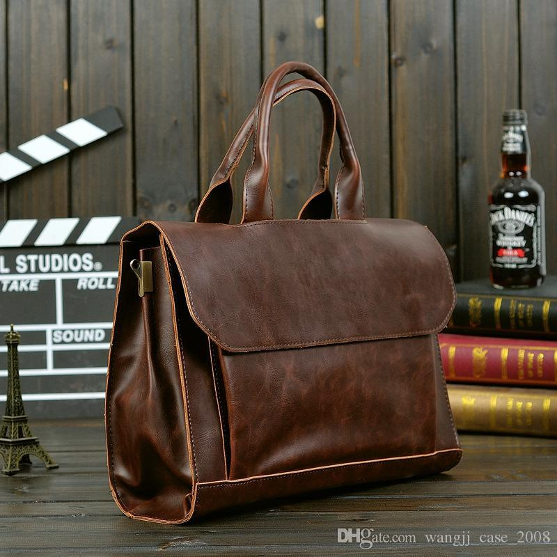 Men Briefcases Lawyer Leather Handbag Vintage Laptop Briefcase Male Computer Shoulder Bags Casual Men Office Portable Bag fashion