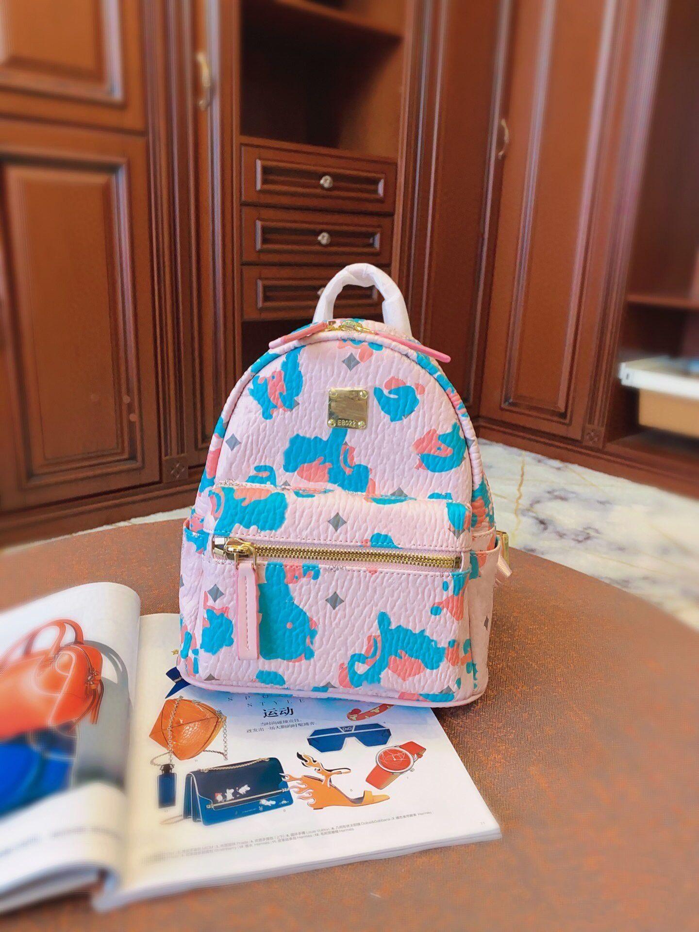 الفتيات موضة جديدة الفهد الأزهار على ظهره حقيبة مدرسية وردي الترفيه