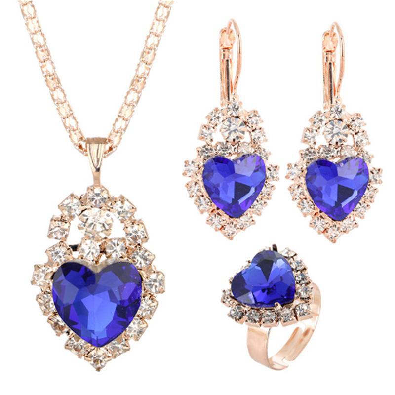 Сердце ювелирные наборы женщины свадебный комплект ювелирных изделий для невест золотого цвета циркония Кристалл серьги кулон ожерелье кольца наборы