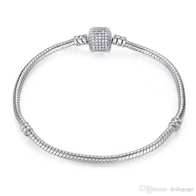 Prata esterlina 925 pulseira banhado Bangle apto para Encantos Pandora europeus e Bead Você pode dimensionar Mixed pulseira desenhador Free navio