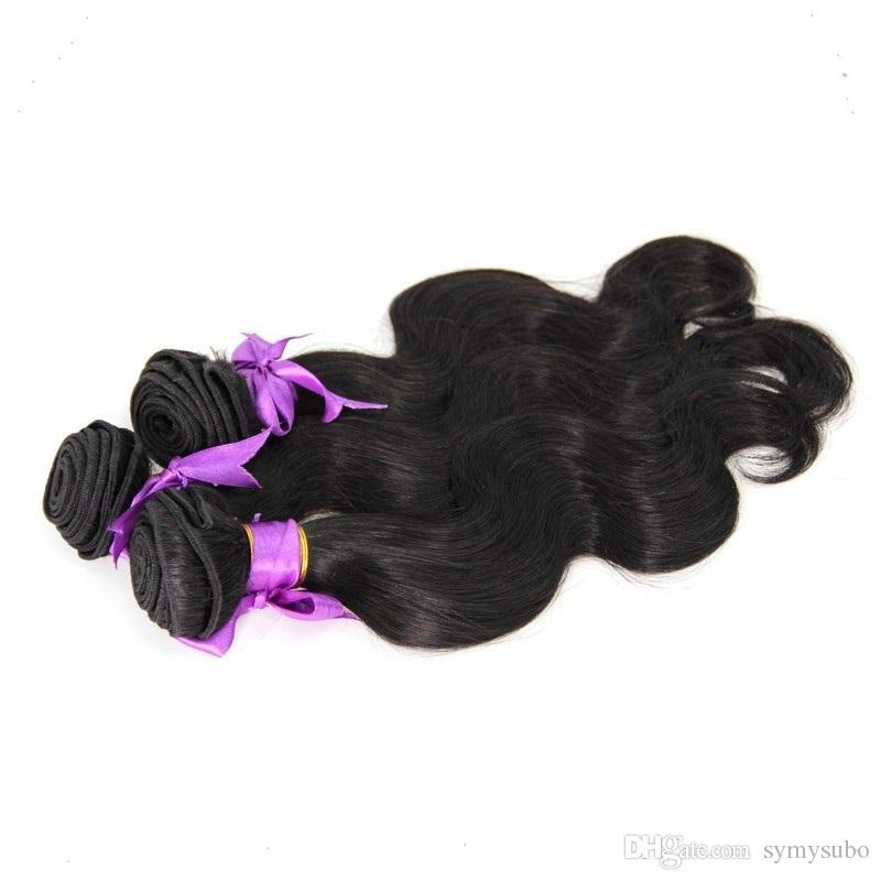 1 Piece #1 Jet Black Malaysian Body Wave Hair Bundles100% Human Hair Weave 10-30 Inchs Malaysian Unprocessed Double Weft Hair Extensions
