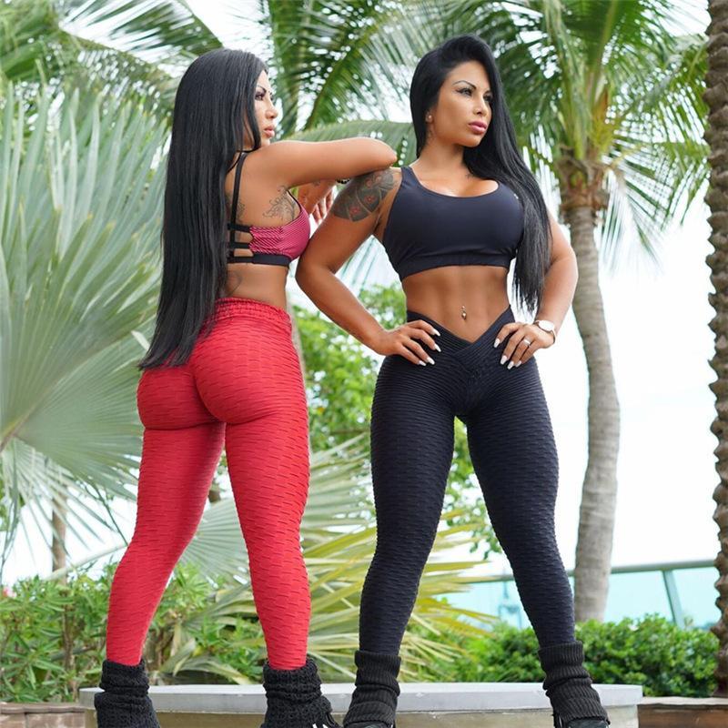 European and American Jacquard V-waist leggings women Shaped high-elastic fitness yoga pants