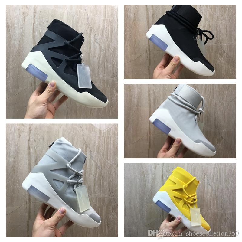 Nike Air Fear of God 1 FOG mais recente deus do medo 1 dos homens sapatos FOG designer botas luz osso preto vela sapatos de vela dos homens sapatos casuais AR4237-002 tamanho 7-12