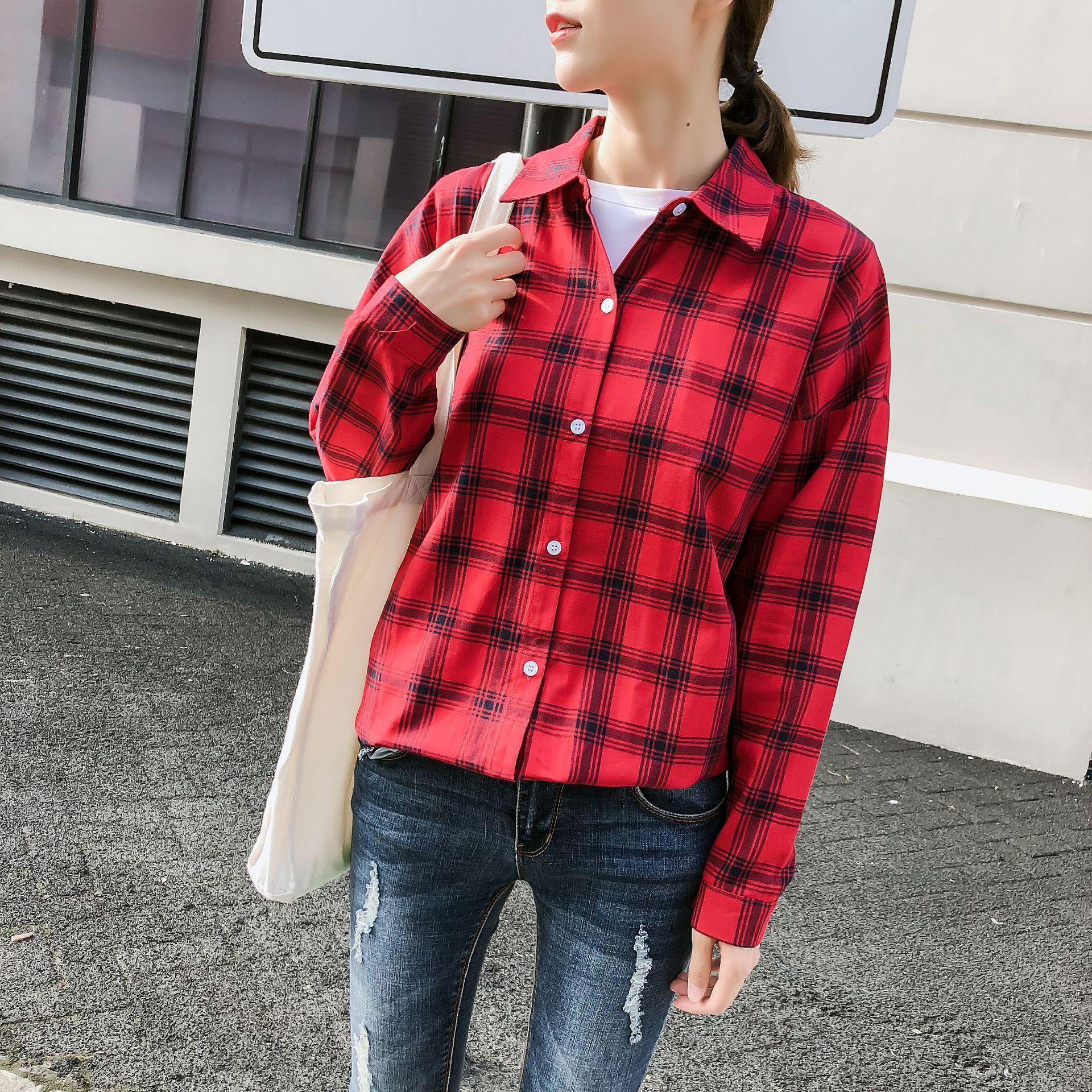 격자 무늬 셔츠 여성 블라우스 레드 블랙 체크 남자 친구 스타일 100 % 코튼 긴 소매 셔츠 느슨한 Camisa 레이디 가을 탑