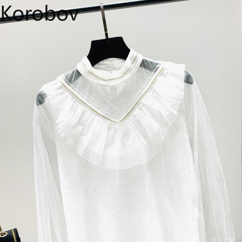 Korobov collar del soporte de malla remiendo de la blusa blanca elegante de las mujeres riza Blusas de manga larga primavera de 2020 Nueva camisa 2a813