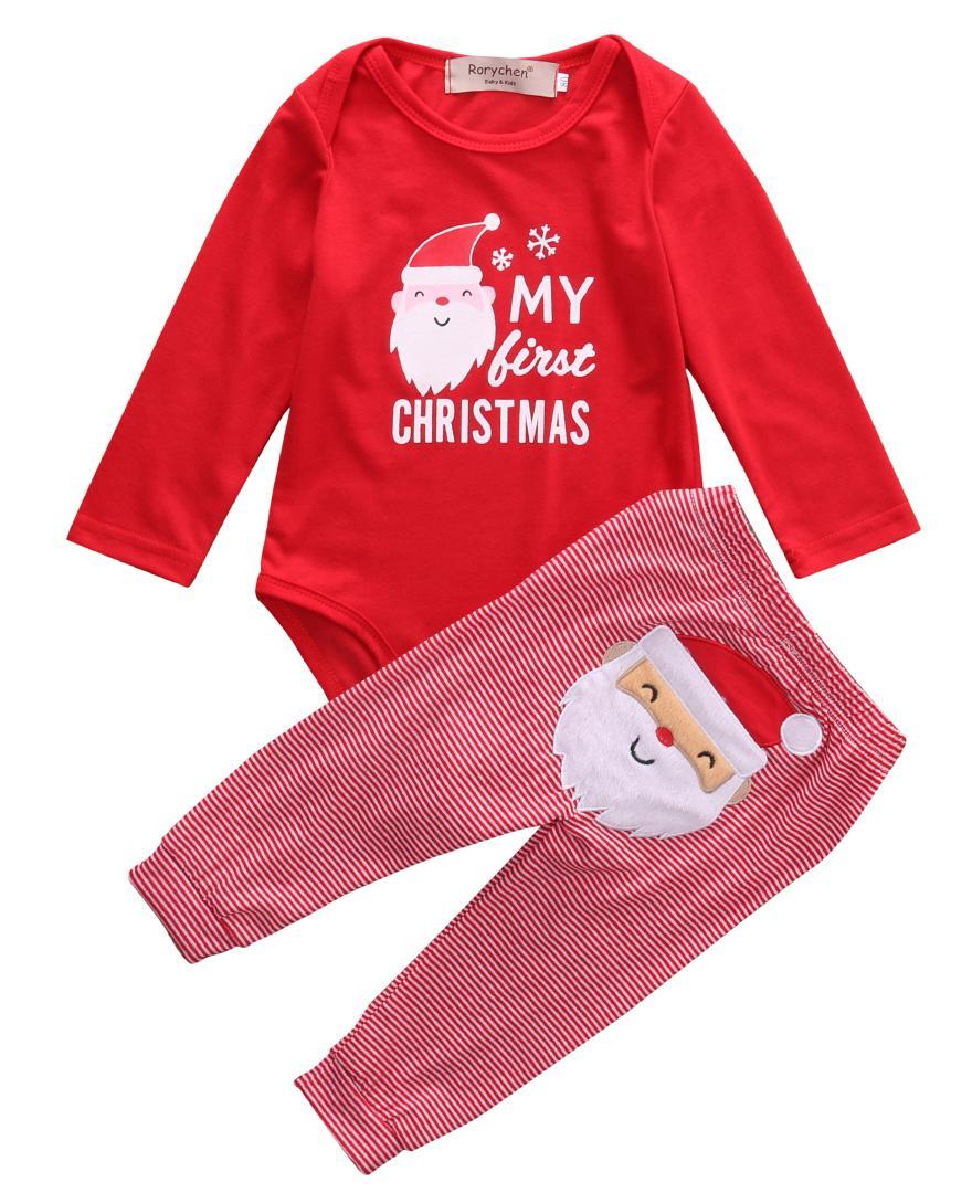 Emmababy 2PCS Cofanetti nascita del bambino neonati abiti natale pagliaccetto pantaloni di Babbo Natale bambino fortunato di Natale Costume Outfits Abbigliamento