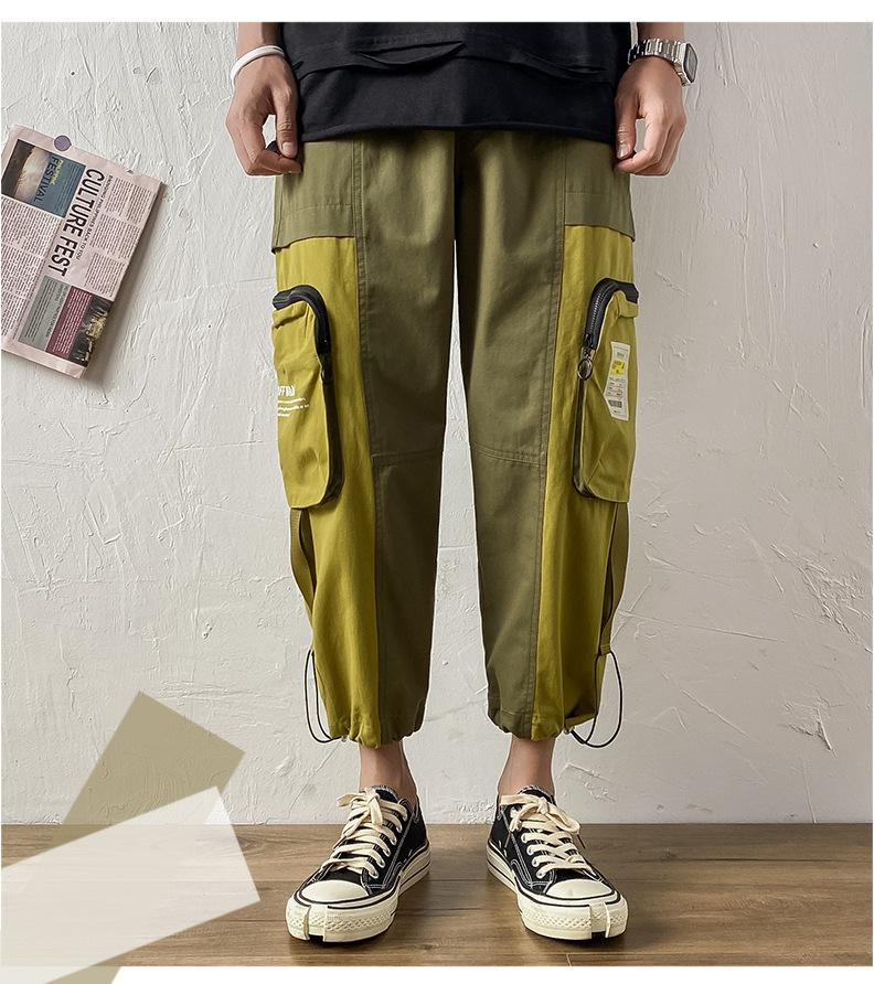 Teenagers Big Pocket Cargo Pants Summer Sport Designer Panelled Contrast Color Loose Trousers Males Street Style Drawstring Pant