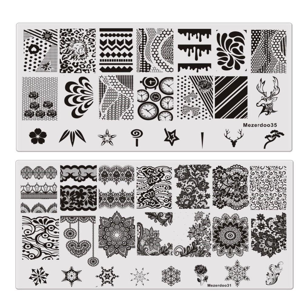 9Pcs / lot 직사각형 템플릿 꽃 무늬 해골 기어 패턴 플레이트 매니큐어 네일 아트 스탬프 스탬프 이미지 플레이트 스텐실 도구