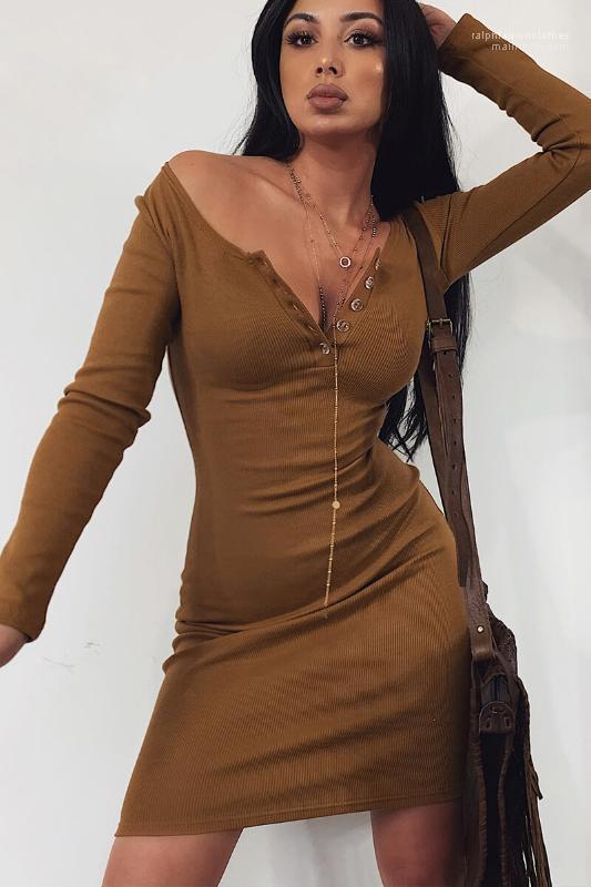 V-Ausschnitt, figurbetontes Kleid-neue Ankunfts-Frauen-Kleider 20SS Frauen Designer-Kleider Mode Schlank Solid Color-Knopf