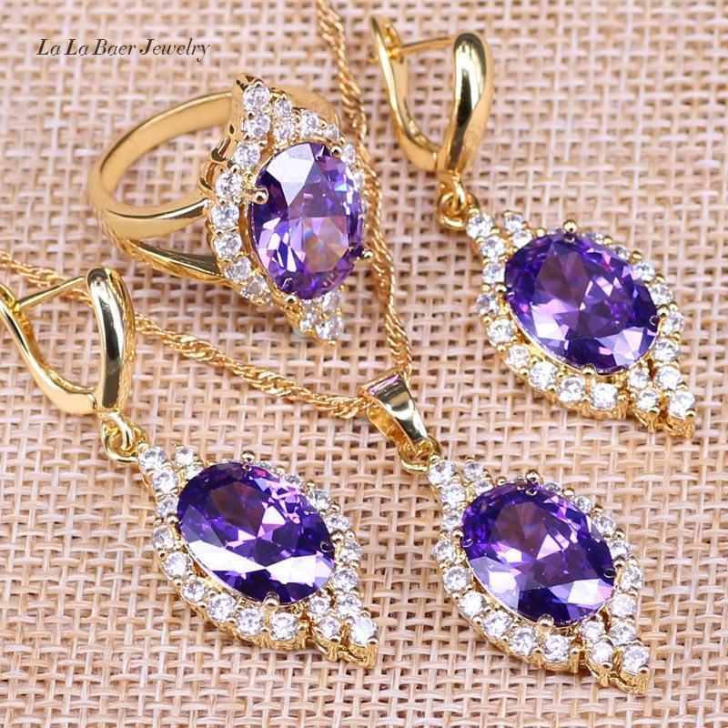 toda saleLB 2017 la venta superior de lujo clásico fiesta de la boda del oro del color de las mujeres joyería fija el diseñador de la joyería púrpura oval Amethy Cristal