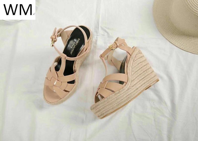 Nouveau Nu chanvre corde Sole talon haut chaussures sandales femmes Escarpin Sandales Chaussons Mules Slides Pompes Sneakers Chaussures