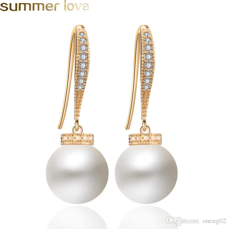 Vintage Imitation Pearl Drop Earrings for Women Pave Cubic Zircon Big Hook Dangle Earring Party Gifts Gold Color Gift Jewelry