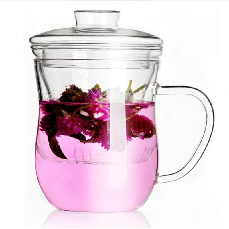 HHO-Şeffaf Clear Cam Süt Mug Kahve Çay Kupası Çaydanlık Kettle ile Çay demlik FilterLid Ev Ofis Drinkware