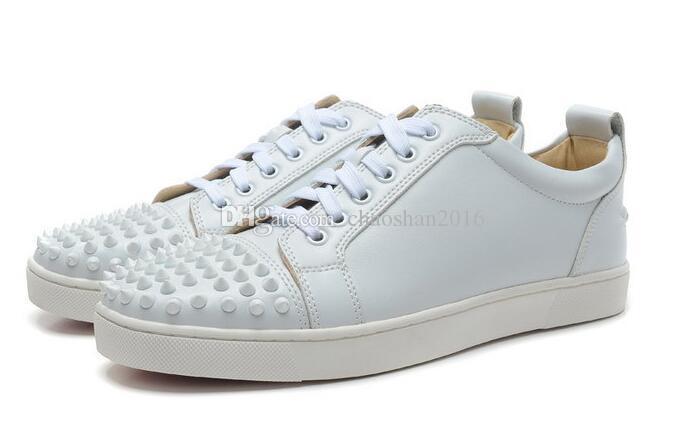 2017 tênis New homens de grife, famosa marca parte inferior vermelha dos homens do desenhista luxuosos sapatos de couro genuíno, branco cravado apartamentos toe 39-47