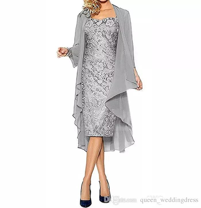 Mother of The Bride Dresses Two Pieces Chiffon Jackets Sheath Lace Mothers Dresses For Wedding Events Prom Evening Dresses
