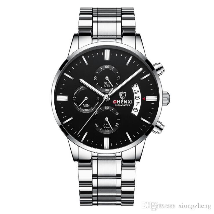 Wholesale Luxurywatches imprägniern Kalendergeschäftsfreizeit leuchtenden TIMING-Kalender-festen Stahlschmetterlingsdoppeltastenquarzuhr 1B
