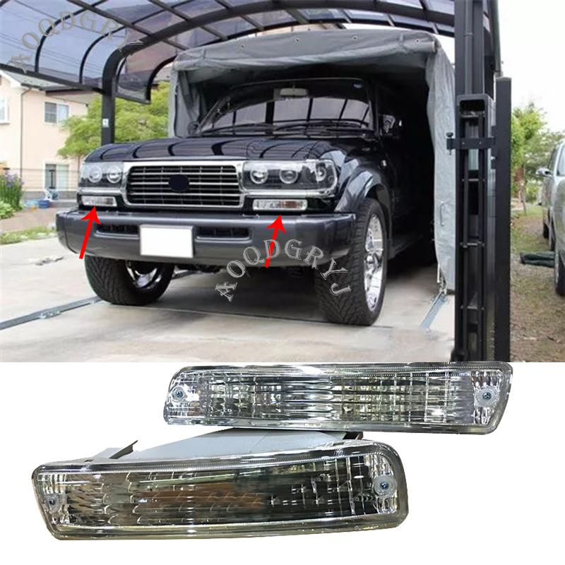 Car Accessories Chrome (Crystal) 1 Pair Front Bumper Fog Light Turn Signal Housing For Toyota Land Cruiser LC80 FJ80 1991-1997