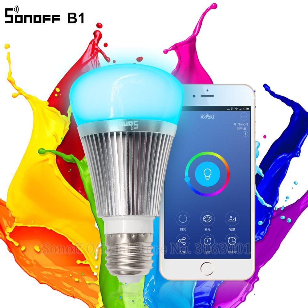 Cheap Smart Remote Control Sonoff B1 Led Bulb Dimmer Wifi Smart Bulbs Remote Control Wifi Light Switch Led Color Changing Light