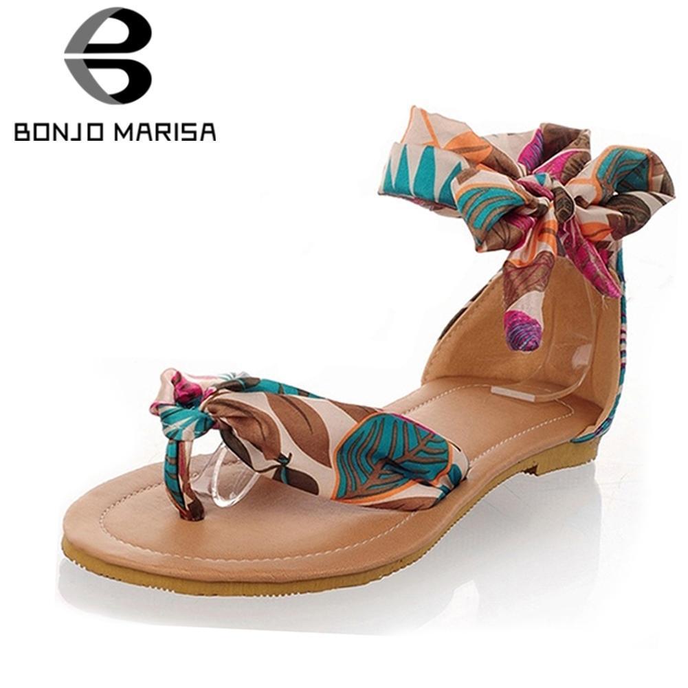 Les femmes sandales plates bascule imprimé fleur occasionnels doux sandales bracelet de cheville chaussures bas talons femme grande taille 34-43