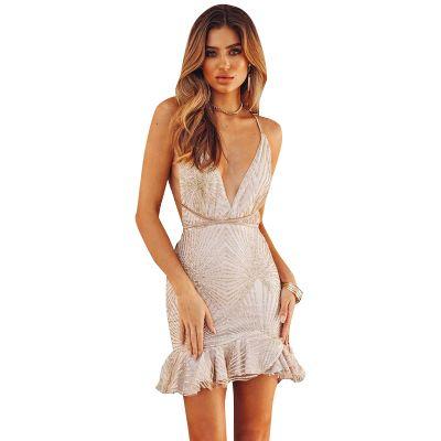 무릎 민소매 클럽 여성 복장 S-XL 이상 여성 여름 섹시한 드레스 스파게티 스트랩 공주 골 크로스 드레스