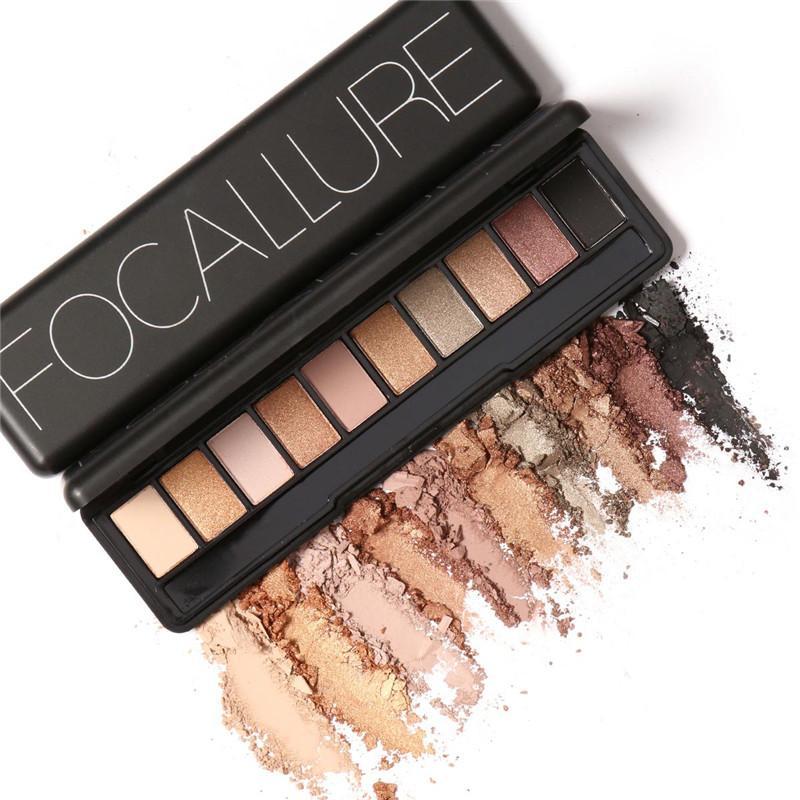 Focallure 10 colores sombra de ojos nu paleta efecto piel desnuda paleta de sombra de ojos sombra para Cejas maquillaje Set Maquiagem