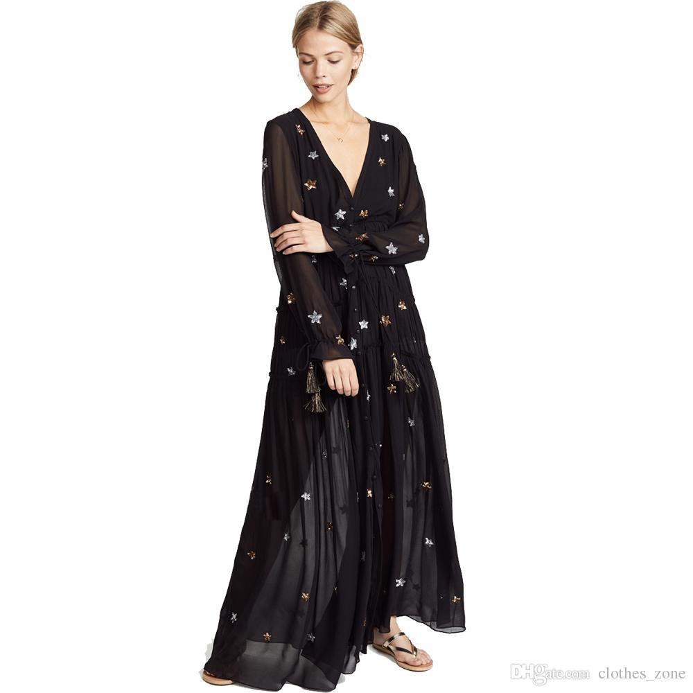 Best Bohemian # beach dress 2019 black embroidered star ruffle trim deep v neck daily street party evening long women dresses