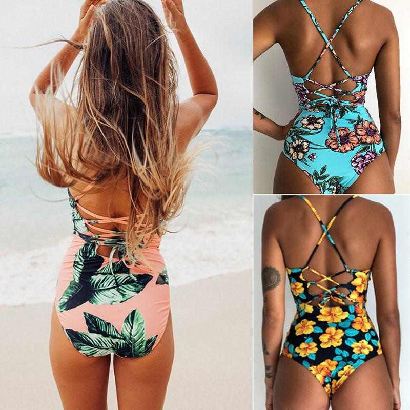 Sexy Swimsuit Bandage Swimwear Women One Piece Monokini Print Bodysuit Stripe Brazilian Swimwear Bathing Suit Beach Wear Female Y19072701