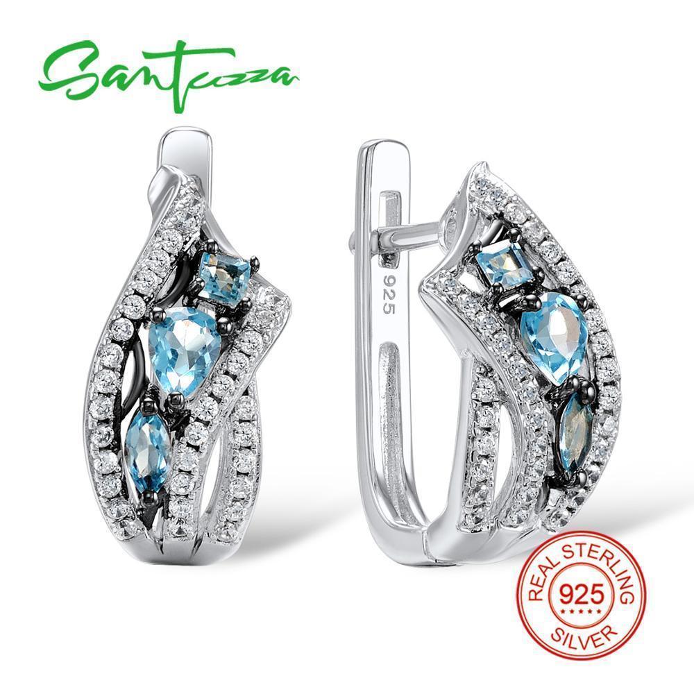 Santuzza Boucles d'oreilles en argent pour les femmes 925 Sterling Silver Stud Earrings Argent 925 avec des pierres Cubic Zircone Brincos Bijoux J190721