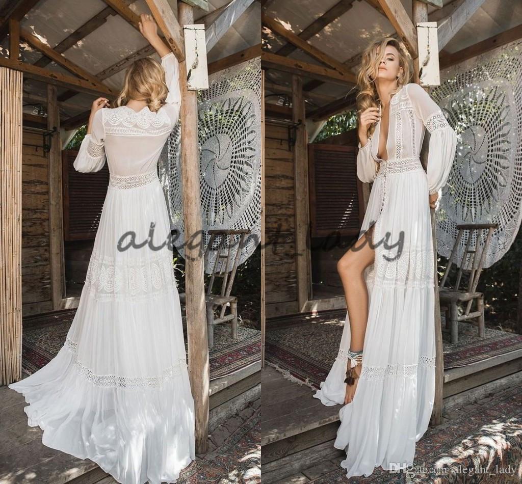 Inbal Raviv 2018 cordón de la gasa de la boda larga de la manga vestidos de ganchillo que fluye vestido de novia de Bohemia de la llamarada diosa griega Beach