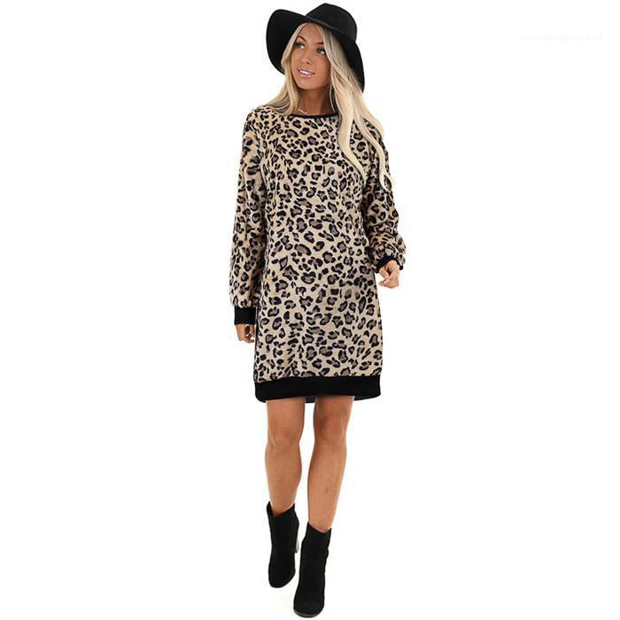 الملابس النسائية الشتاء مصمم سترة فساتين ليوبارد طباعة الرقبة الطاقم الحارة نمط الخريف أنثى ملابس غير رسمية