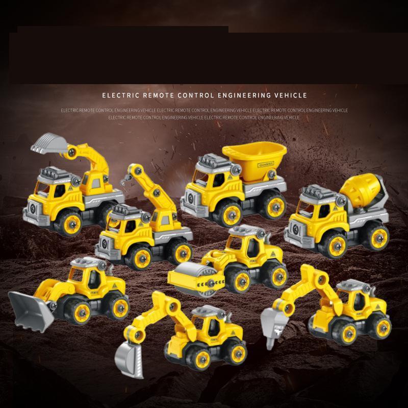 Kid 2.4G RC Ekskavatör Model Oyuncak, Elektrikli Matkap, Beton Kamyon ile DIY Meclisi, Noel Partisi Doğum Hediyesi için Truck Crane, Buldozer, Damperli