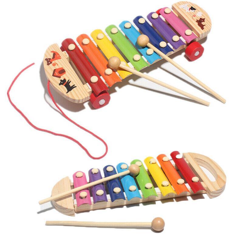 طفل أطفال خشبية تدق البيانو إكسيليفون لعبة قوس قزح الكرتون لعبة للتربية المبكرة